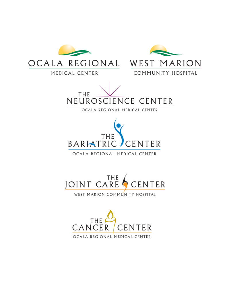 We were hired by Ocala Regional Medical Center to create a new brand for the hospital because focus groups had shown that they had an identity issue in the community. Among many things, such as new collateral, signage and brochures, we also recreated all of their logos to tie them together.