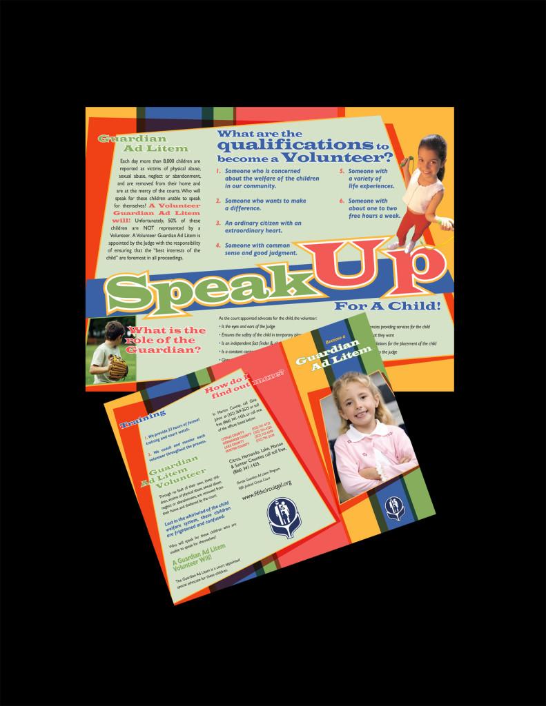Guardian Ad Litem tri-fold brochure design donated.